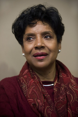 "Phylicia Rashad, known for her role as Clair Huxtable on the NBC sitcom ""The Cosby Show,"" speaks to a group of reporters at Shenandoah University's Harry F. Byrd, Jr. School of Business during her visit to Shenandoah University on Monday. Rich Cooley/Daily"